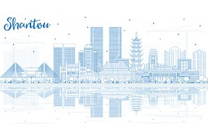 Outline Shantou China City Skyline