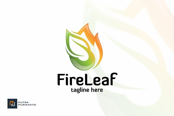 Fire Leaf Logo Template