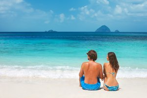 couple relax on the tropical beach