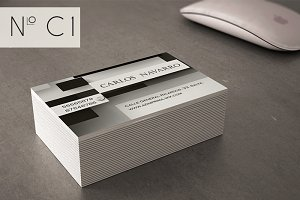 Classic business card, black and whi
