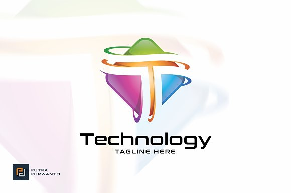 Technology T Logo Template