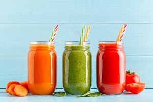 Orange/green/red colored smoothies
