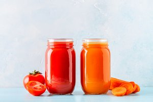 Orange/red colored smoothies