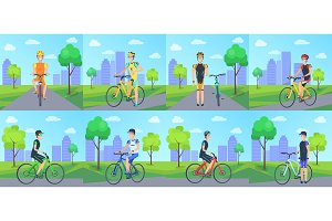 Cyclists Riding Bicycle in Park Vector Poster.