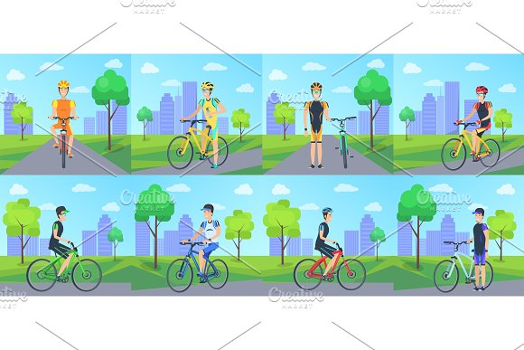 Cyclists Riding Bicycle In Park Vector Poster
