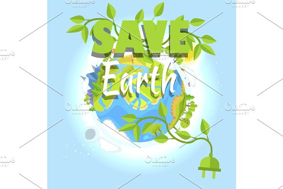 Save Earth Logo Design With Planet Electric Plug
