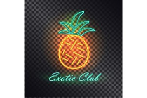 Exotic Club, Bright Signboard with Neon Pineapple
