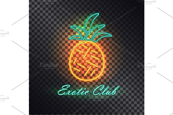 Exotic Club Bright Signboard With Neon Pineapple