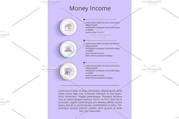 Money Income Colorful Poster Vector Illustration