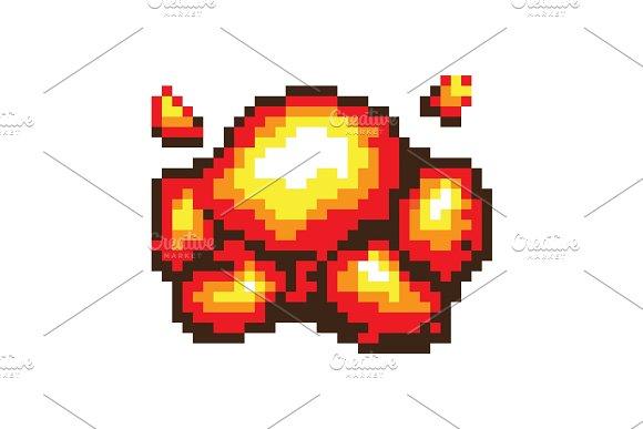 Pixel Explosion Banner Color Vector Illustration