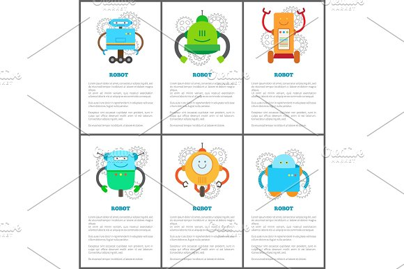 Robot And Innovation Set Vector Illustration