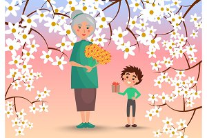 Grandmother with Grandson Surrounded with Flowers