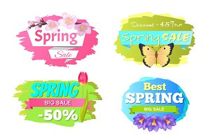 Spring Big Sale Discounts 50% Posters Set Labels