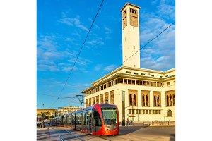 City tram on a street of Casablanca, Morocco