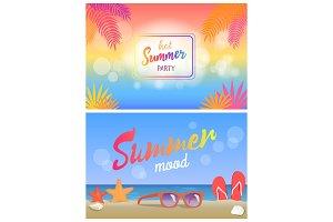Hot Summer Party Summertime Mood Poster Beach Set