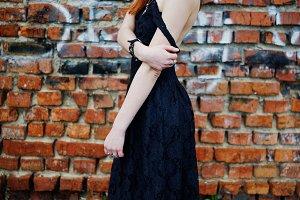 punk girl wear on black dress