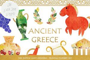 Greek Archeology Clipart Set
