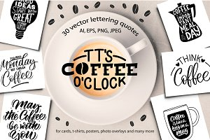 It's Coffee O'clock - lettering set