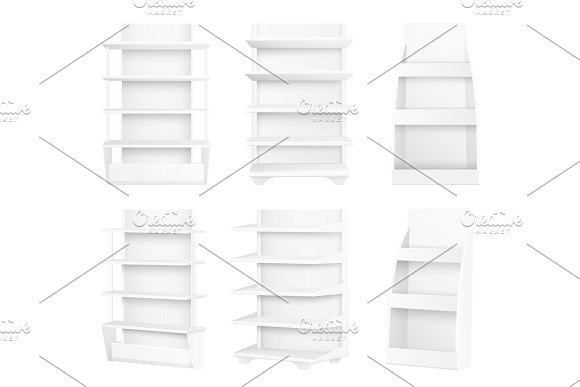 Modern Stylish Wooden Shelves Painted In White Set
