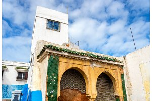 Famous blue and white houses in Kasbah of the Udayas - Rabat, Morocco