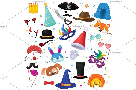 Mask Vector Kids Carnival Costume Hat For Children Masquerade Party And Cartoon Animal Masks Illustration Set Of Masked Child And Headwear For Birthday Celebration Isolated On White Background