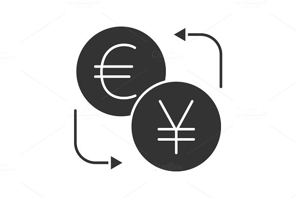 Euro And Yen Currency Exchange Glyph Icon