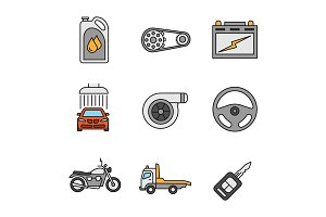 Auto workshop color icons set