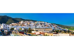 Panorama of Moulay Idriss Zerhoun town in Morocco
