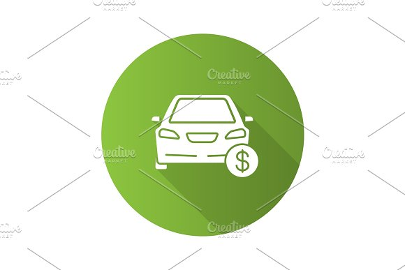 Car With Dollar Sign Flat Design Long Shadow Glyph Icon