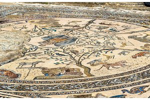 Ancient mosaic at Volubilis, Morocco