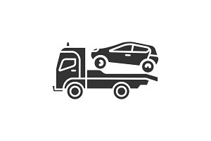 Tow truck glyph icon