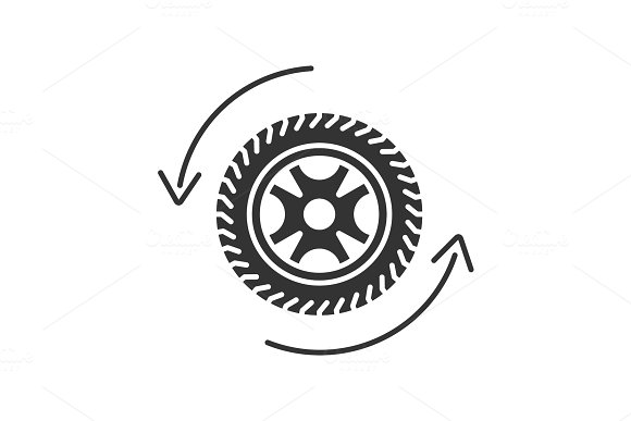 Automobile Wheel Changing Glyph Icon