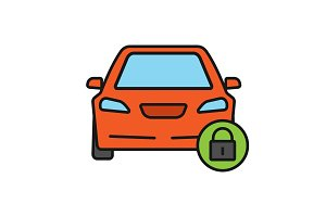 Locked car color icon