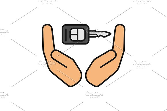 Open Palms With Car Key Color Icon