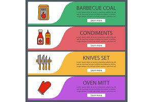 Barbecue web banner templates set