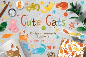 Cute cats set clip-art. Patterns