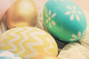 Close up of pastel easter eggs