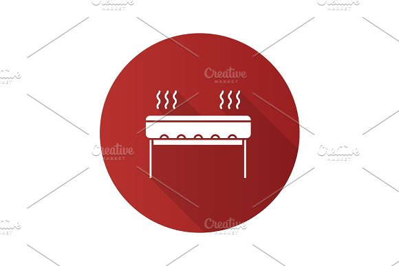 Charcoal Barbecue Grill Flat Design Long Shadow Glyph Icon
