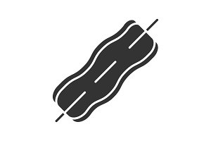 Bacon strip on skewer glyph icon