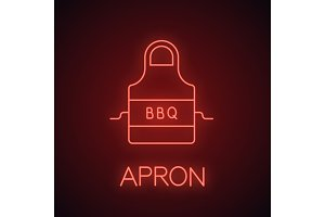 Barbecue apron neon light icon