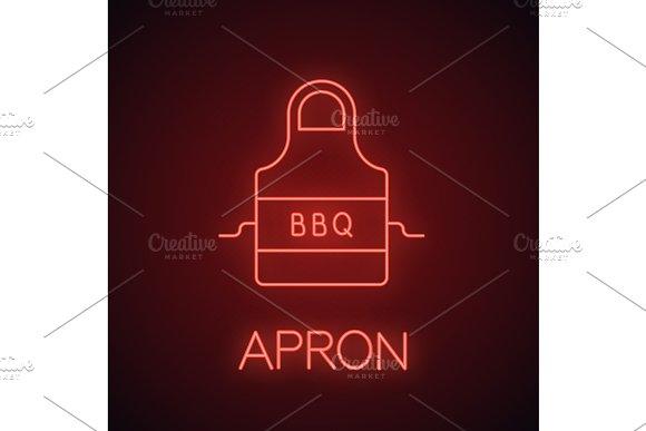 Barbecue Apron Neon Light Icon