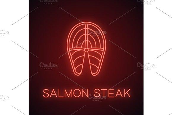 Salmon Fish Steak Neon Light Icon