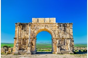 Caracalla Triumphal Arch at Volubilis, a UNESCO heritage site in Morocco