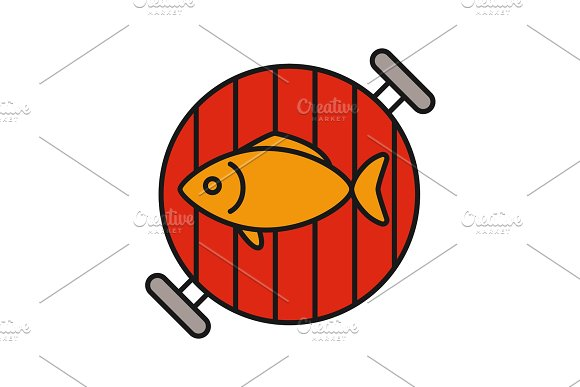 Fish on barbecue grill color icon