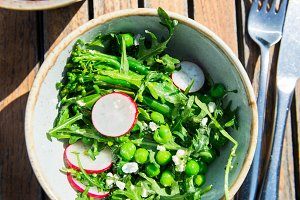 Healthy Vegetarian Salad from grilled Broccoli, Peas, Radish