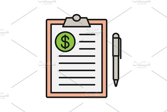 Business Contract Color Icon