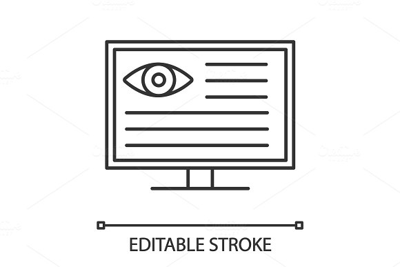 Eye Diagnostic Computer Linear Icon