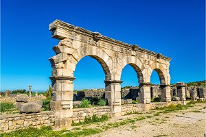 Decumanus Maximus, the main street of Volubilis, an ancient Roman town in Morocco