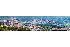 Panorama of Moulay Idriss Zerhoun town in Morocco