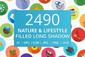 2490 Nature & Lifestyle Flat Icons